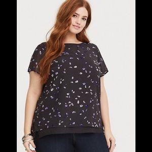 Torrid grey and purple chiffon blouse size 18/20